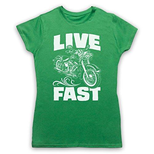 Live Fast Motorbike Camiseta para Mujer Verde
