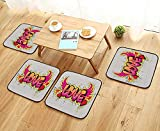 Luxurious Household Cushions Chairs Love Lettering On Brick Wall Brushing Dripping Street Art Wings llustration Soft and Comfortable W31.5 x L31.5/4PCS Set