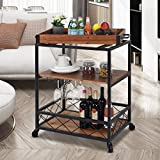 Solid Wood rolling Kitchen cart with 3 Tier Storage
