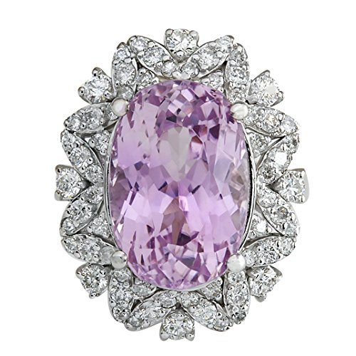 12 Carat Natural Pink Kunzite and Diamond (F-G Color, VS1-VS2 Clarity) 14K White Gold Cocktail Ring for Women Exclusively Handcrafted in USA