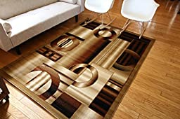 New City Contemporary Brown and Beige Modern Squares Circles Area Rug 5\'2 x 7\'3