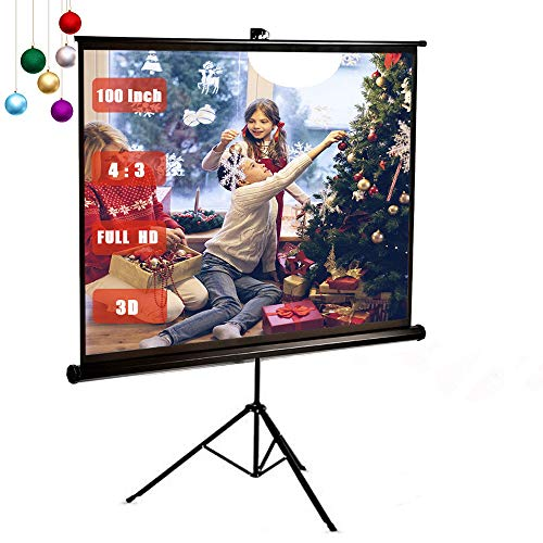 100 inch Projector Screen Stand Tripod, GBTIGER Full HD 4:3 Pull Up Portable Indoor and Outdoor PVC Movie Screen with Wrinkle-Free Design 160