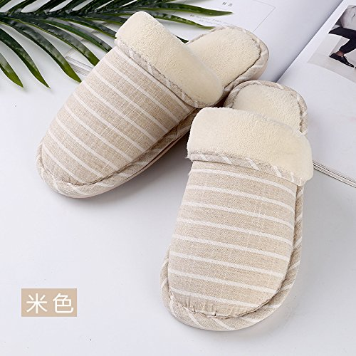 Fankou Home soggiorno caldo inverno pantofole pantofole stripe stripe cotone bianco ,4445 mop
