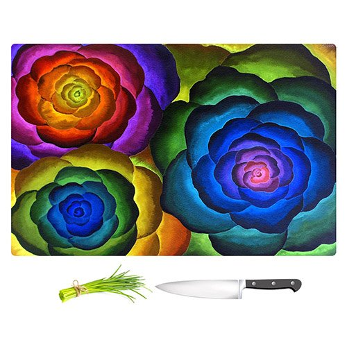 DiaNoche Designs Cutting Boards from DiaNoche Designs by Jennifer Baird - Joyous Flowers IV Unique Kitchen Slicing Dicing Bar Artistic Decorative, Large 15
