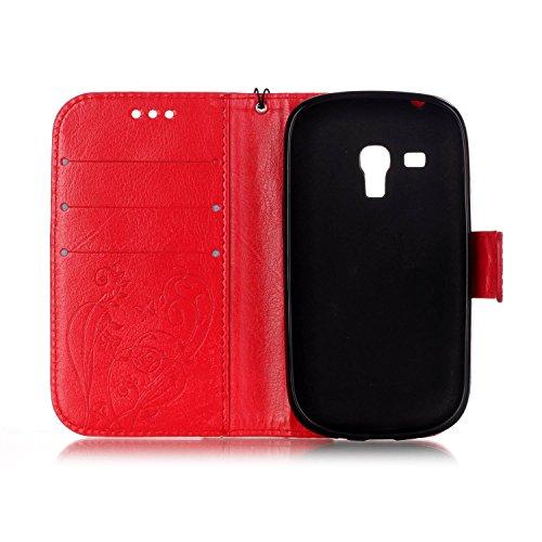 JIALUN-Personality teléfono shell Samsung S3 Mini caja de flores de relieve, cuero de la PU con cuerda colgante y función de la cartera para Samsung S3 Mini I8190 Seguridad y Moda ( Color : Black , Si Red