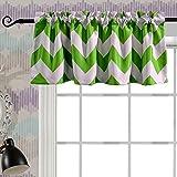 window valance ideas Melodieux Chevron Room Darkening Rod Pocket Window Curtain Valance for Bathroom, 52 by 18 Inch, Green (1 Panel)