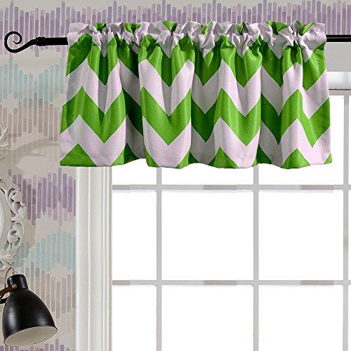 Melodieux Chevron Room Darkening Rod Pocket Window Curtain Valance for Bathroom, 52 by 18 Inch, Green (1 Panel)