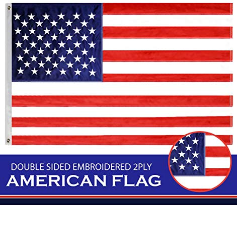 (G128 - American Flag USA Flag 3x5 Ft Double Sided Embroidered Stars Sewn Stripes Brass Grommets US Flag)