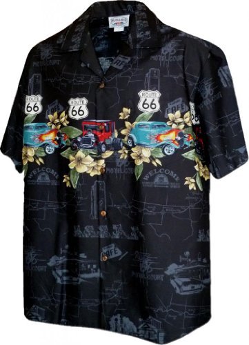 (Hawaiian Aloha Shirt Nostalgic Route 66 Black (Made in Hawaii))