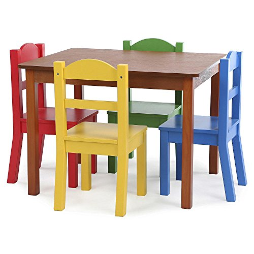 Brand New Focus Wood Table and 4 Primary Colored Chair Set GUARANTEED QUALITY by Unknown