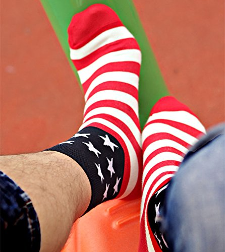 3 Pairs American Flag Mens Cotton Stars&Stripes USA Socks Old Glory Casual Crew (Badass Characters)