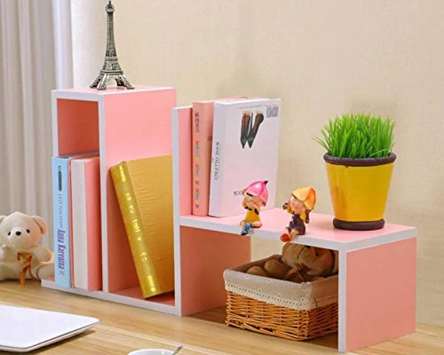 ANTIMAX Desktop Organizer Natural Wood Book Shelf Portable Book Case Storage Rack for Office Home Dormitory Decor Desk and Counter Top Display Shelf Pink by ANTIMAX