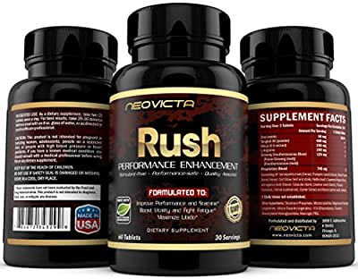 #1 Male Enhancement Supplement - Enhance Energy, Stamina, Muscle Mass & Strength - RUSH by Neovicta - Powerful All Natural Support - 60 Count - Money Back Guarantee