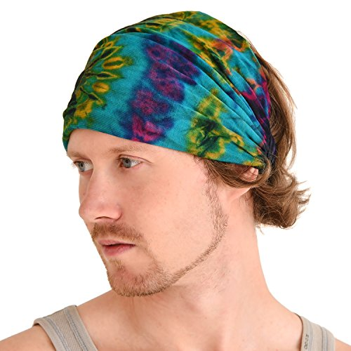 Casualbox Tie-Dye Headband Bandana Boho Hippie Retro Flower psychedelic 60's A,Free (Sixties Accessories)