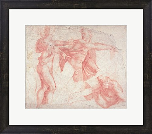 Studies of Male Nudes by Michelangelo Buonarroti Framed Art Print Wall Picture, Espresso Brown Frame, 22 x 19 inches