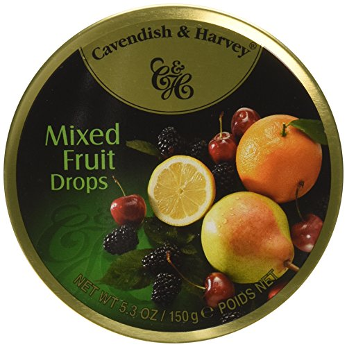 Cavendish & Harvey Mixed Fruit Drops, 5.3 oz Tins in a BlackTie Box (Pack of 3) by Black Tie Mercantile (Image #1)