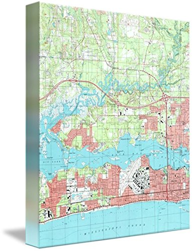 Imagekind Wall Art Print Entitled Biloxi Mississippi Map (1992) by Alleycatshirts @Zazzle | 8 x 9 (Mississippi Map Biloxi)