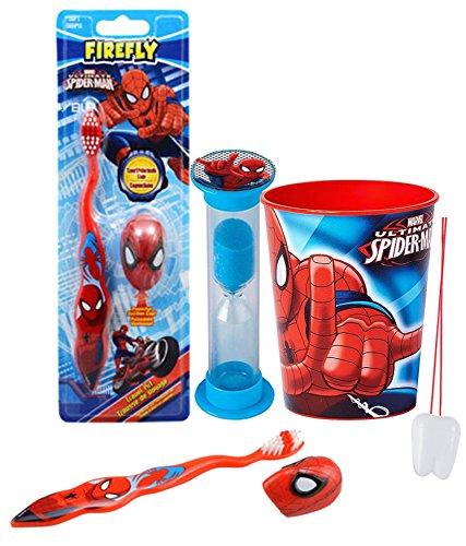 - Super Hero Inspired 4pc Bright Smile Oral Hygiene Set! Spider-ManToothbrush, Cap, Brushing Timer & Mouthwash Rinse Cup! Plus Bonus