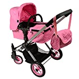 Pink Convertible Doll Stroller with Swiveling Wheels & Free Carriage Bag
