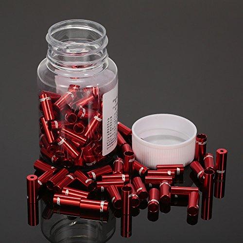Lixada GUB 100pcs 4mm / 5mm Aluminio Aleación Bicicleta Desviador Cambio Freno Cable Cable Casquillo De Extremo Rojo
