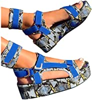 MITCOWBOYS Rainbow Sandals Women's Open Toe Ankle Strap Platform Flat Sandals Ladies Summer Casual Daily