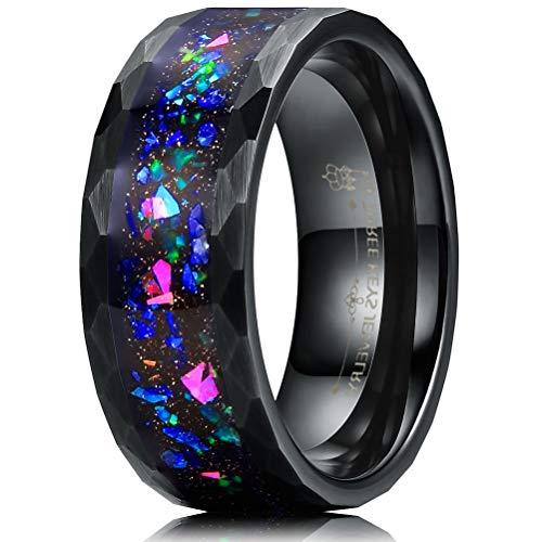 Three Keys 8mm Black Tungsten Mens Ring Deer Head Skull Wedding Band Engagement Promise Ring