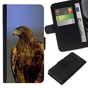 KLONGSHOP // Tirón de la caja Cartera de cuero con ranuras para tarjetas - halcón águila plumas azules calvas majestuosa - Samsung Galaxy A3 //