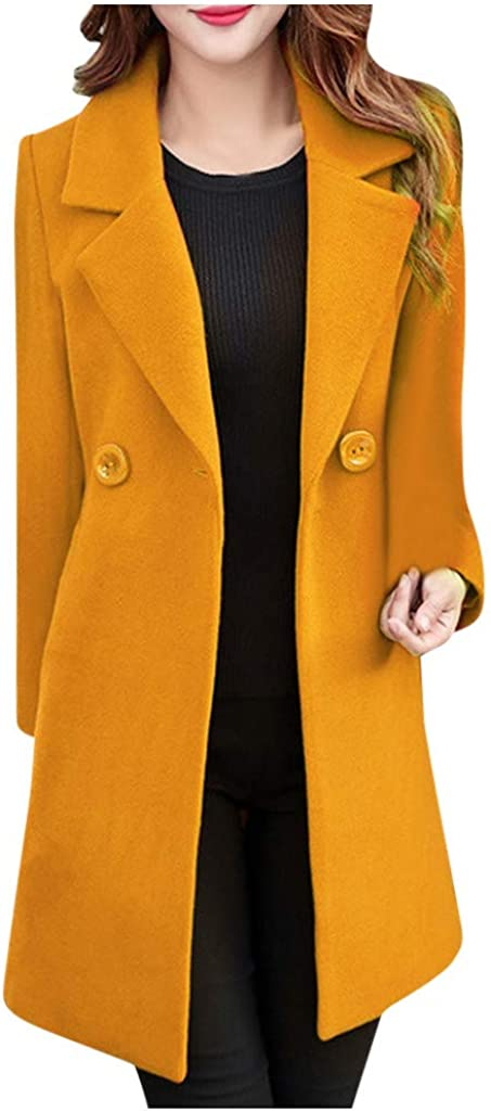 Zegeey Damen Trenchcoat Langjacke Langer Revers Mantel Langarm Einfarbig Tunika Herbst Winter Warm Bequem Oberteil Jacke Outwear