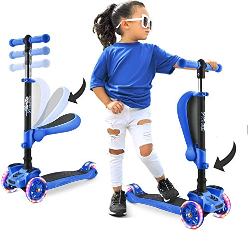 Hurtle 3 Wheeled Scooter for Kids – 2-in-1 Sit/Stand Child Toddlers Toy Kick Scooters w/Flip-Out Seat, Adjustable Height…