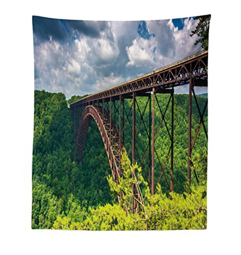 Lunarable USA Tapestry, The New River Gorge Bridge, Seen from The Canyon Rim Visitor Center Overlook, Fabric Wall Hanging Decor for Bedroom Living Room Dorm, 23 W X 28 L ()
