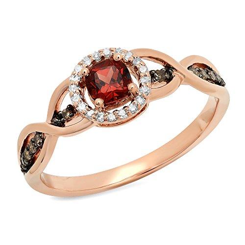Dazzlingrock Collection 14K Garnet, Champagne & White Diamond Swirl Halo Style Bridal Engagement Ring, Rose Gold, Size 8