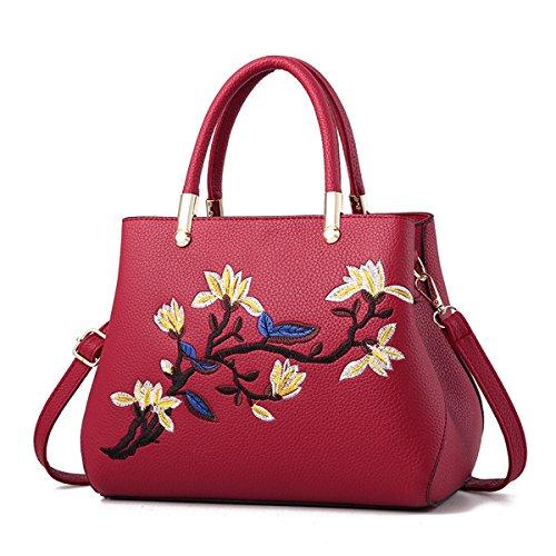 RUIREN Multifunción Bolso Suave Bordado Bolsa de Hombro Portátil Mujeres Messenger Bags Mujeres Bolso de Hombro Borgoña
