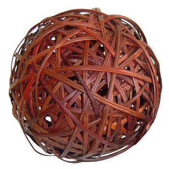 Medium Red Natural Fiber Willow Rattan Ball