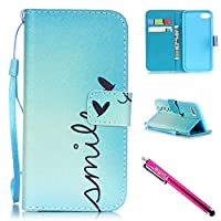 iPhone 7 Case, iPhone 7 Wallet Case, Firefish [Kickstand] [Shock Absorbent] Double Protective Case Flip Folio Slim Magnetic Cover with Wrist Strap for Apple iPhone 7 4.7""