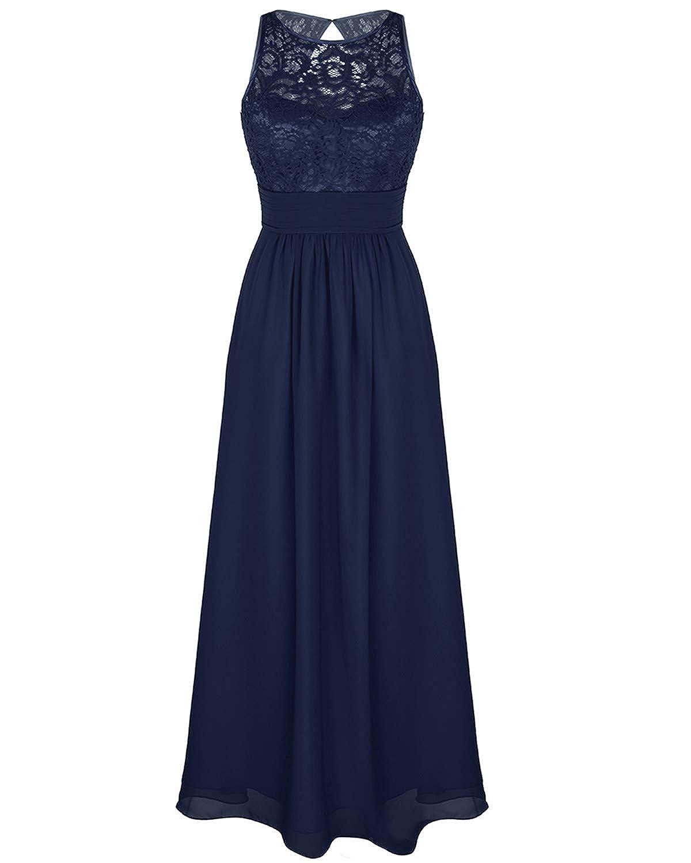iEFiEL Damen Kleid festlich Hochzeit Brautjungfernkleider Cocktailkleid Chiffon Faltenrock Elegant Langes Abendkleid Partykleid