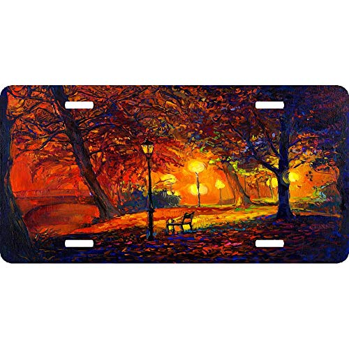 Autumn Splendor Night Light Bench Aluminum License Plate Cover for US Vehicles, Car Tag Sign Decoration for Women/Men, 12 x 6 Inch ()