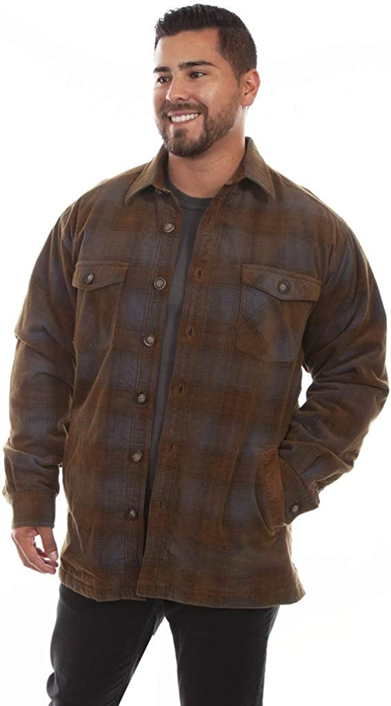1920s Men's Dress Shirts, Casual Shirts Scully Mens Yarn Dyed Corduroy Plaid Shirt $145.90 AT vintagedancer.com
