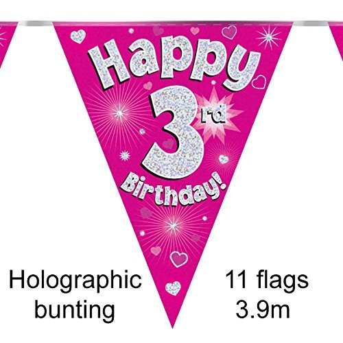Happy 3rd Birthday Pink Holographic Foil Party Bunting 3.9m Long 11 Flags by Oak Tree