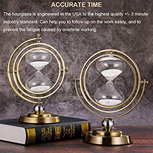 Hourglass Timer 60 Minutes Sand Timer: Antique Sand Clock 60 Minutes, Vintage Brass Sand Watch 60 Min, 1 Hour Glass for Decorative, Large Rotating Metal Sandglass Timer (Color: Brass Frame, White Sand, Tamaño: 60 Min)