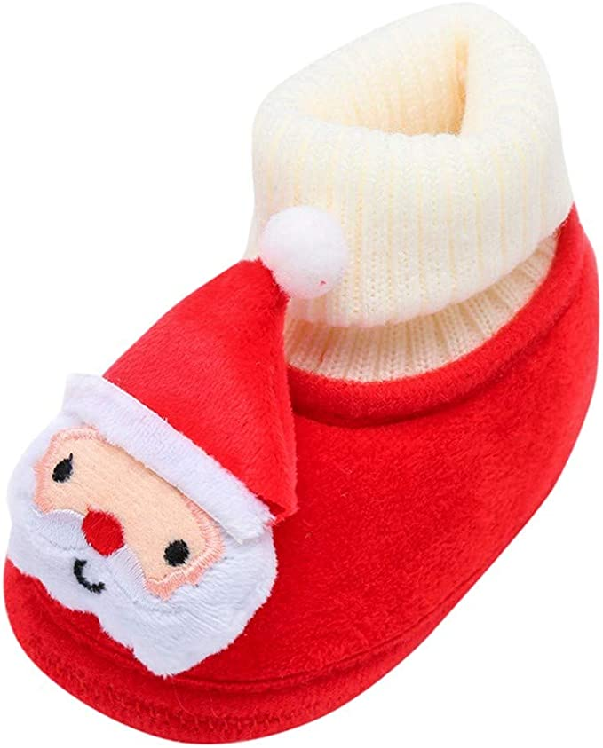 Infant Boys /& Girls Plush Red Santa Claus Slippers Baby Christmas Shoes 6