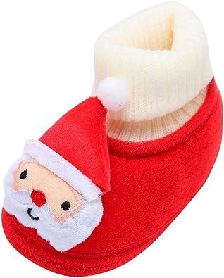DAY8 Stivali Neve Scarpine Primi Passi Bambino Peluche Scarpe Natalizie Neonato Scarpa Cotone Bambino Sportive Chiuse Inverno Peloso Unisex Natale Shoes Bambino