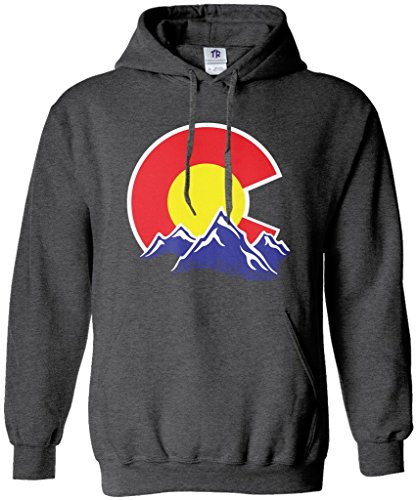 Colorado Pullover - Threadrock Men's Colorado Mountain Hoodie Sweatshirt 2XL Dark Heather
