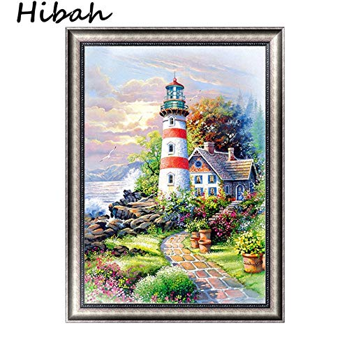 Embroidered Cottage - 5D Handmade DIY Craft Diamond Painting Seaside Lighthouse Cottage Embroidered Embroidery Needlework Sewing Landscape Cross Mosaic