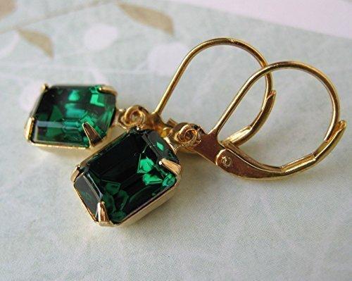 22b4d8ccf9f3c Amazon.com: Emerald Vintage Rhinestone Earrings Swarovski Crystal ...