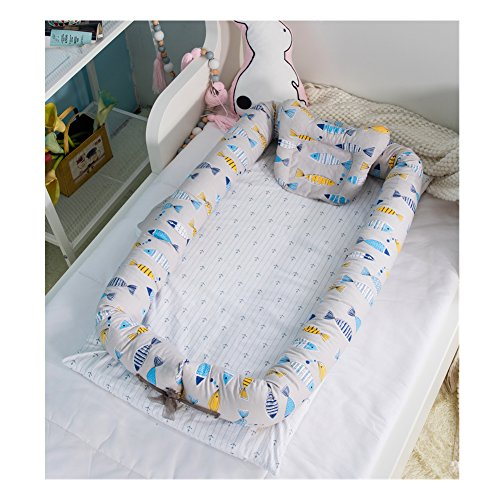 Baby Portable Travel Bed Side Sleeper for 0-24 Months Newborn Baby (Fish) by AVGe