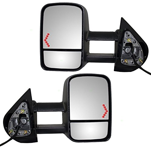 Driver and Passenger Power Tow Side Telescopic Mirrors Heated Signal Replacement for Chevy Cadillac GMC Pickup Truck SUV 20862098 20862099