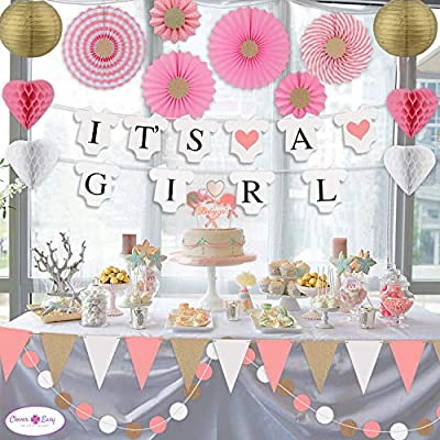 Clover Easy Baby Shower Decorations for Girl - with Its a Girl Banner / Baby Shower Garland / Paper Fans Decorations / Party Paper Lanterns / Baby Elephant Baby Shower Cake Topper- Baby Girl Shower Decorations in Pink and Gol
