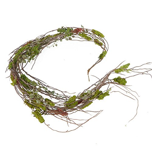 Grapevine Swag - 4 Feet of Artificial Soft Green Moss, Woodland Fern and Twig Garland for Home Decor, Crafting and Embellishing