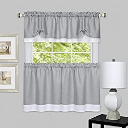 "Achim Home Furnishings DRTV24GW12 Darcy Window Curtain Tier Pair & Valance Set, 58"" x 24"" with 14"" Valance, Grey/White"