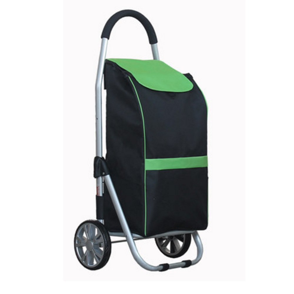 ZR-ショッピングカート 軽量なショッピングトロリー、ハードウェア&折り畳み式の簡単収納用赤、緑、青 -ショッピングと持ち運び (色 : Green) B07FM4TGC2  Green
